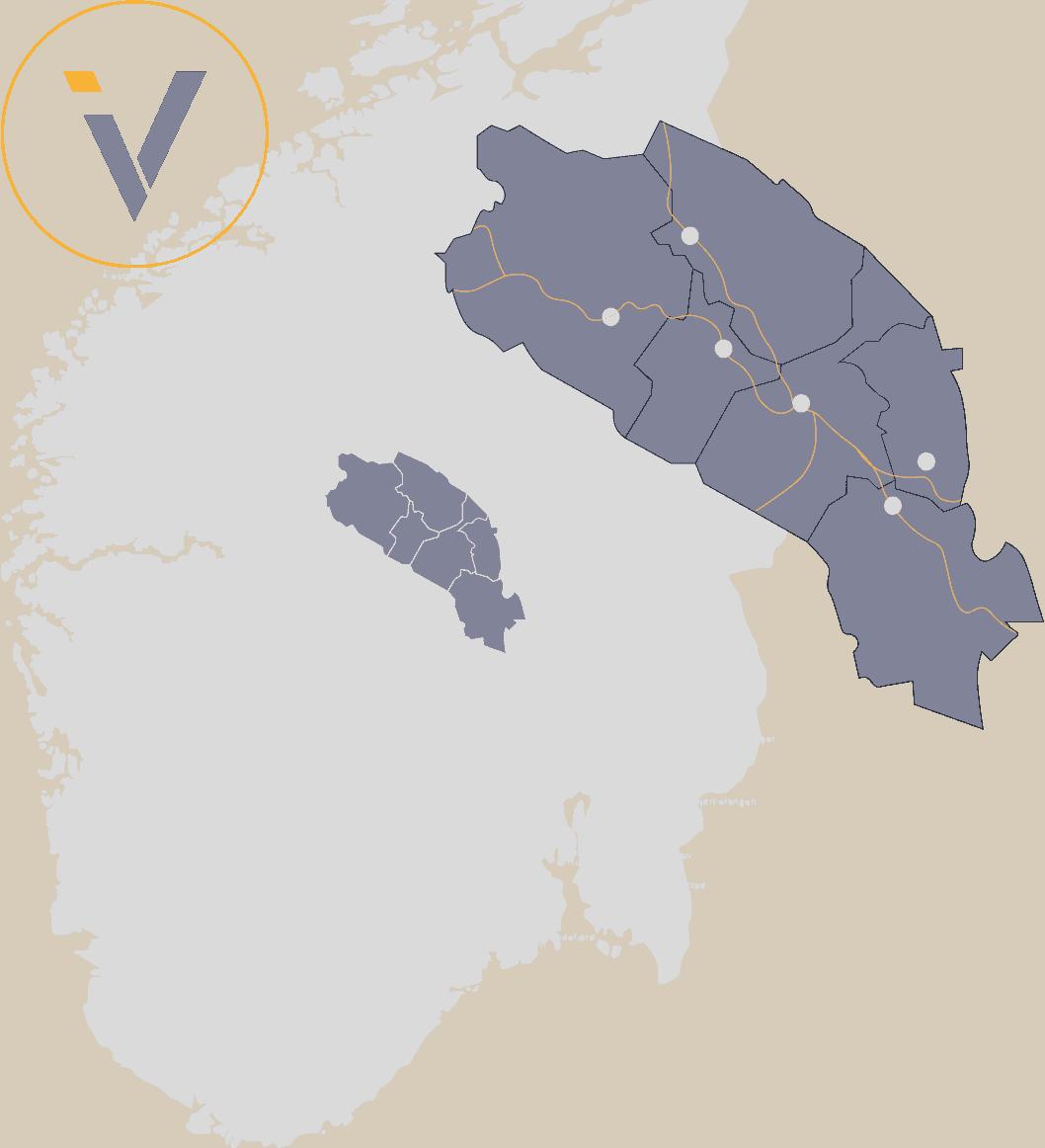 Valdres plassert på et Norgeskart