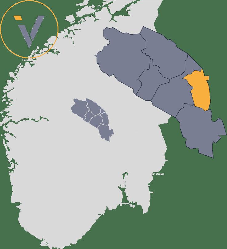 Bedrifter i Etnedal, illustrert med Valdres på et Norgeskart