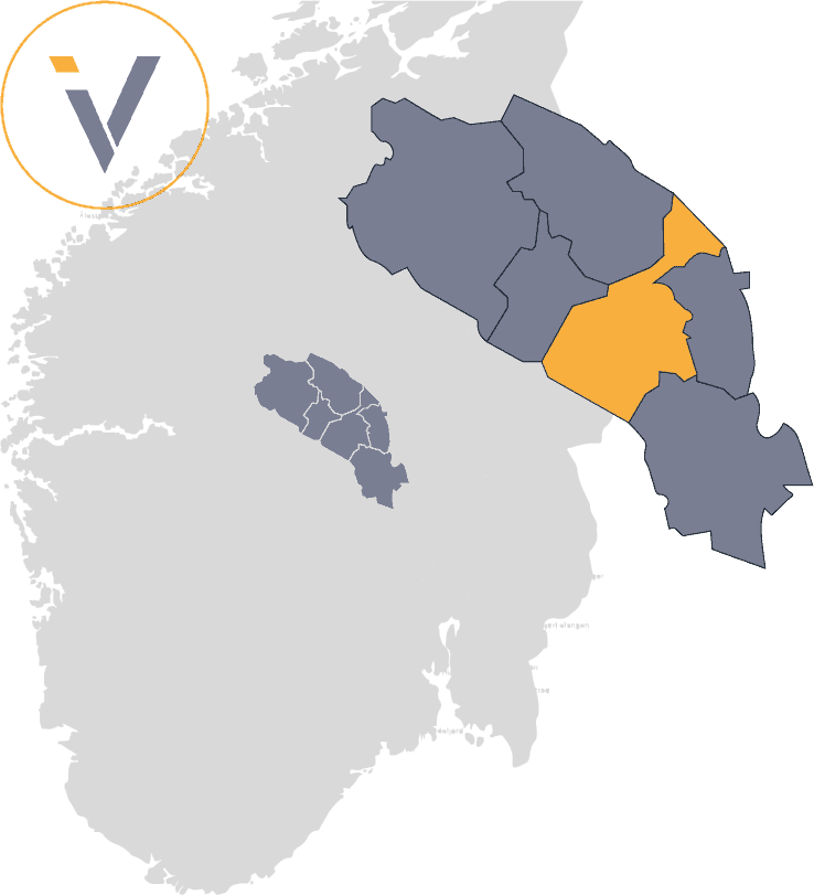 Bedrifter i Nord-Aurdal, illustrert med Valdres på et Norgeskart