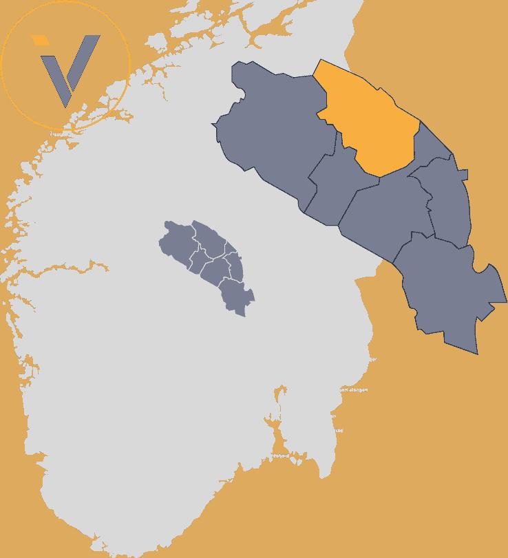 Bedrifter i Øystre Slidre, illustrert med Valdres på et Norgeskart