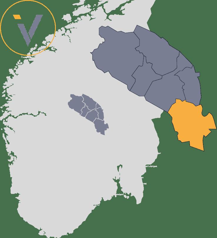 Bedrifter i Sør-Aurdal, illustrert med Valdres på et Norgeskart